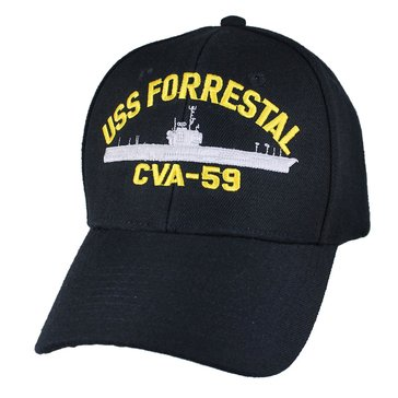 Eagle Crest Men's USS Forrestal CVA-59 Decommissioned Carrier Cap With Flag