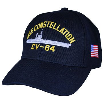 Eagle Crest Men's USS Constellation CV-64 Decommissioned Carrier Cap With Flag