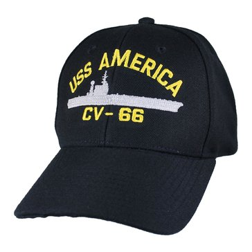 Eagle Crest Men's USS America CV-66 Decommissioned Carrier Cap With Flag