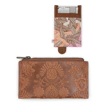 The Sak Sanibel Zip Around Wallet Tobacco Floral Embossed