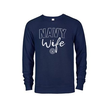 Soffe Women's Navy Wife French Terry Crew Sweatshirt