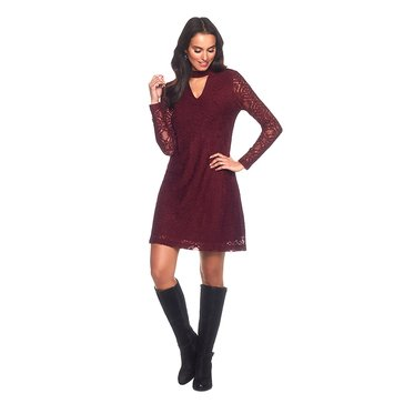 Skye's The Limit Long Sleeve Lace A-Line Dress in Wine