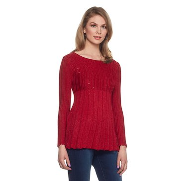 Skye's The Limit Lurex Pointelle and Rib Sweater in Red