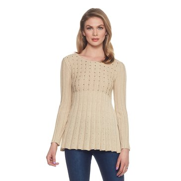Skye's The Limit Lurex Pointelle and Rib Sweater in Gold