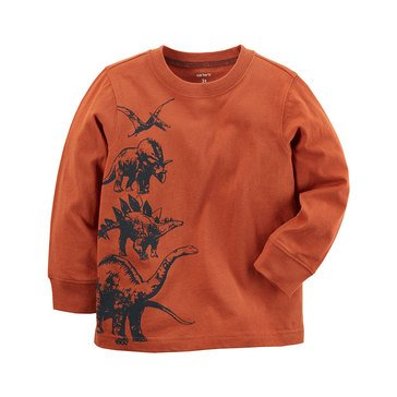 Carter's Baby Boys' Long Sleeve Tee, Stacked Dino