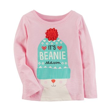 Carter's Baby Girls' Long Sleeve Tee, Beanie