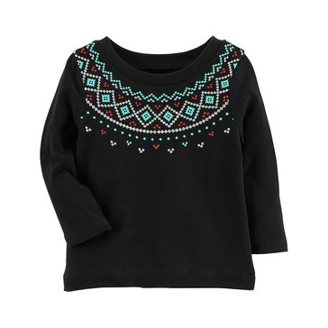 Carter's Baby Girls' Long Sleeve Tee, Fairisle