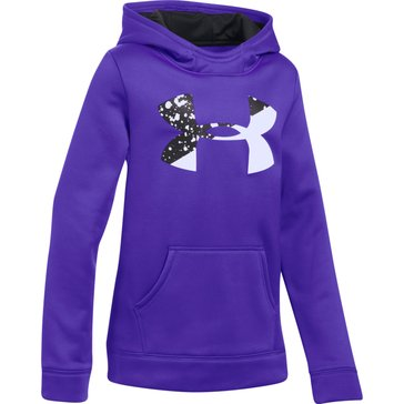 Under Armour Big Girls' Fleece Big Logo Hoodie, Purple