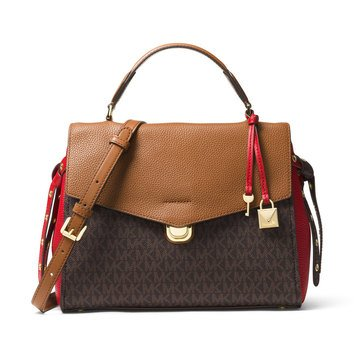 Michael Kors Bristol Medium Top Handle Satchel Brown/Burnt Red