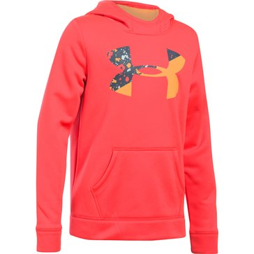 Under Armour Big Girls' Fleece Big Logo Hoodie, Red/Grey