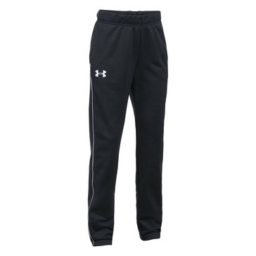 Under Armour Big Girls' Track Pants, Black/White