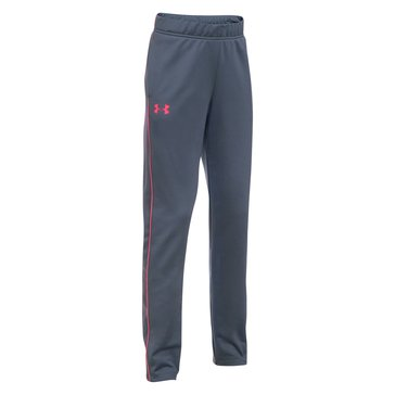 Under Armour Big Girls' Track Pants, Grey/Pink