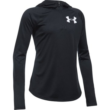 Under Armour Big Girls' Tech 1/4 Zip Hoodie, Black/White