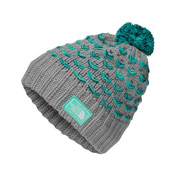 The North Face Big Girls' Chunky Pom Beanie, Silver