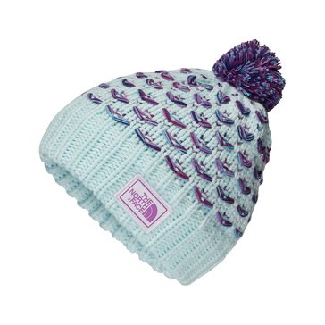 The North Face Big Girls' Chunky Pom Beanie, Blue
