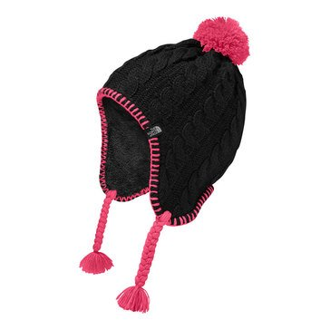 The North Face Big Girls' Fuzzy Earflap Beanie, Black