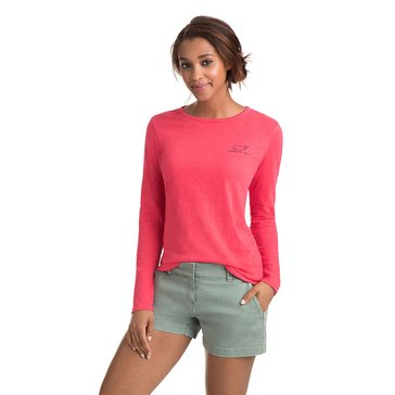 Vineyard Vines Long Sleeve Slub Vintage Whale Pocket Tee in Coral Red