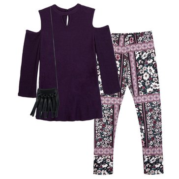 Byer Big Girls' 2-Piece Cold Shoulder Legging Set, Purple