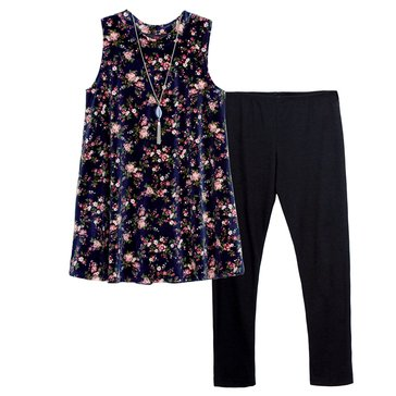Byer Big Girls' 2-Piece Velvet Print Legging Set