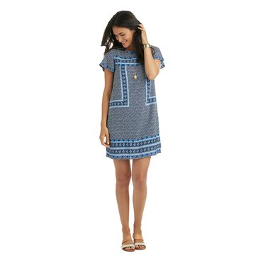 Vineyard Vines Dot Border Print Shift Dress in Deep Bay