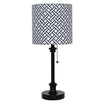 Evolution Lighting Metal Stick Lamp with One Color Pattern Printed Shade
