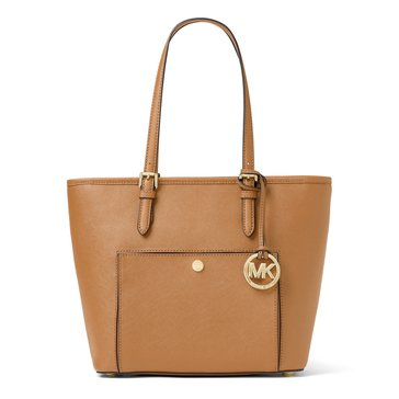 Michael Kors Jet Set Item Medium Top Zip Snap Pocket Tote Acorn Leather