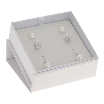 Fresh Water Pearl and Clay Crystal 3-Piece Earring Box Set, 8-9mm, Sterling Silver