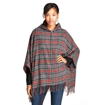 Brooks Brothers Grey Tartan Plaid Zip Front Poncho With Hood