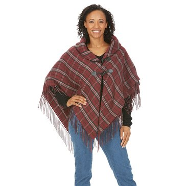 Brooks Brothers Plaid Ruana With Fringe in Acrylic Burgundy