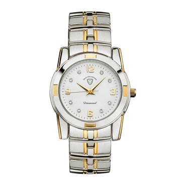 Ladies Diamond Dial Two Tone Swiss Traditional Watch - GWP