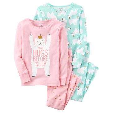Carter's Baby Girls' 4-Piece Cotton Pajamas, Polar Bears