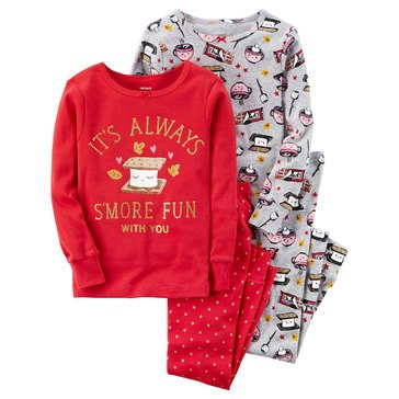 Carter's Baby Girls' 4-Piece Cotton Pajamas, S'more Fun