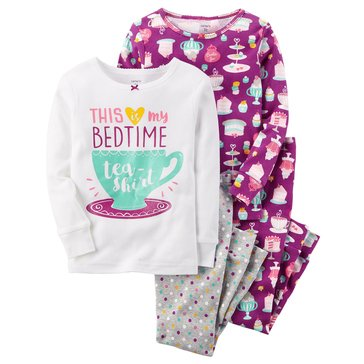 Carter's Baby Girls' 4-Piece Cotton Pajamas, Bedtime Tea