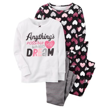 Carter's Baby Girls' 4-Piece Cotton Pajamas, Dream