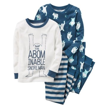 Carter's Baby Boys' 4-Piece Cotton Pajamas, Snore Man