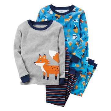 Carter's Baby Boys' 4-Piece Cotton Pajamas, Fox
