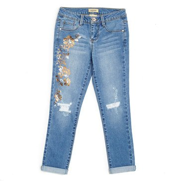 Squeeze Flower Embroidered Deconstructed Roll Cuff Jeans