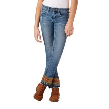 Squeeze Big Girls' Jacquard Deconstructed Flare Jeans