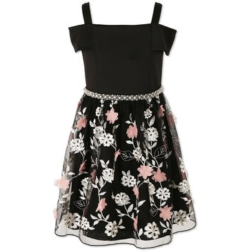 Speechless Little Girls' Tulle Off Shoulder Dress, Black/Blush