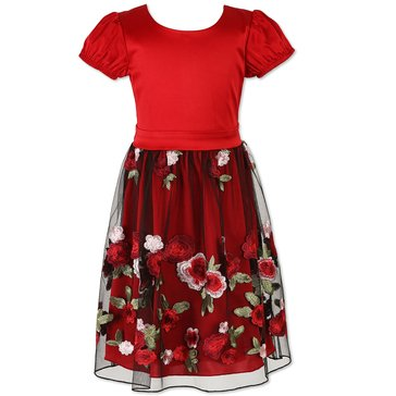 Speechless Little Girls' Tulle Dress, Black/Wine