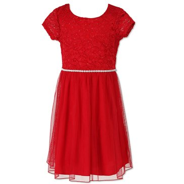 Speechless Little Girls' Lace Tulle Dress, Red
