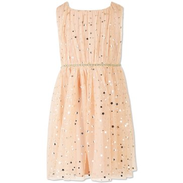 Speechless Little Girls' Foil Star Mesh Dress, Peach/Gold