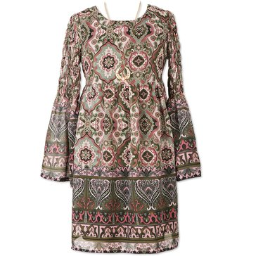 Speechless Print Chiffon Smocked Sleeve Dress