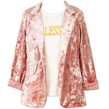 Speechless Big Girls' 2-Piece Crushed Velvet Boyfriend Jacket Set, Light Mauve