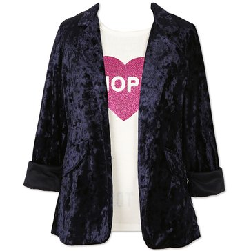 Speechless Big Girls' 2-Piece Crushed Velvet Boyfriend Jacket Set, Navy