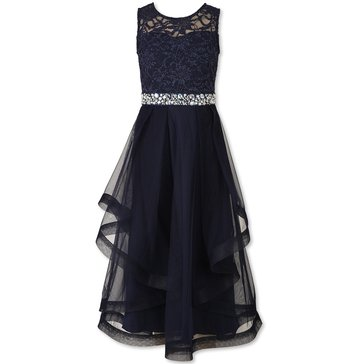 Speechless Big Girls' Lace To Mesh Gown, Navy