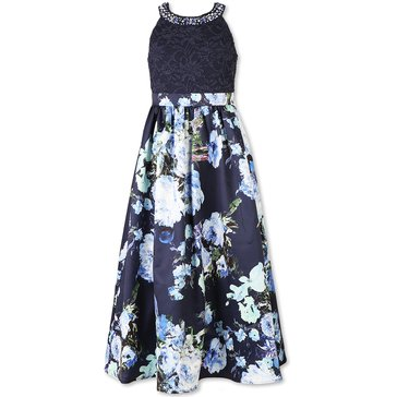 Speechless Big Girls' Lace To Flower Print Gown, Navy/Mint