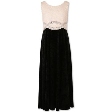 Speechless Big Girls' Lace To Velvet Gown, Blush/Black