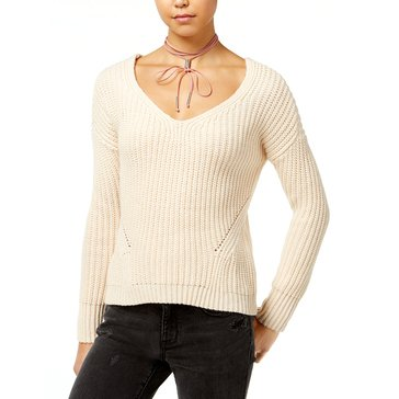 American Rag V-Neck Lace Up Back Sweater in Bisque