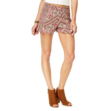 American Rag Rose Print Ruffle Edge Short with Top in Softly Rose